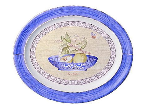 """#wedgwood """"Sarah's Garden"""". This oval platter is rendered in simple, elegant earthenware and features a subtle pastel borders and lovingly hand-rendered botanical motifs. #thomasjewellers"""
