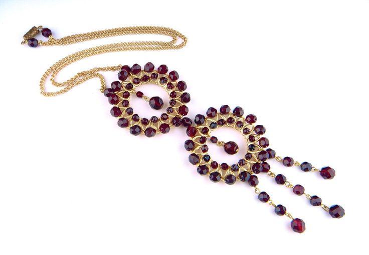Vintage Art Nouveau Deco Czech Glass Gold Pendant Necklace Garnet Ruby Red #Pendant