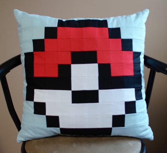 Check out this item in my Etsy shop https://www.etsy.com/ca/listing/467680997/pokemon-pokeball-quilted-pixel-pillow