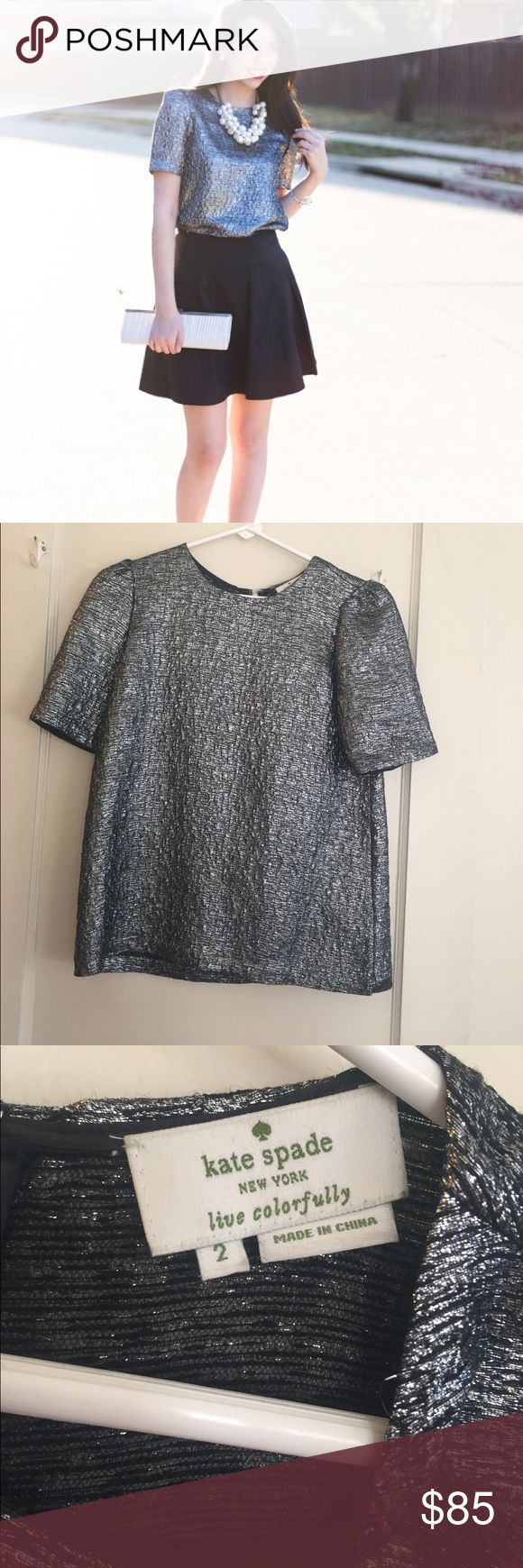 Kate Spade Haley top, size 2, silver blouse Adorable Kate spade Haley top, silver/metallic, size 2, worn once! kate spade Tops Blouses