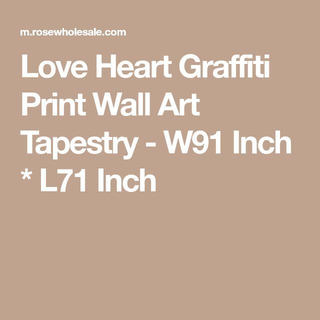 Love Heart Graffiti Print Wall Art Tapestry - W91 Inch * L71 Inch