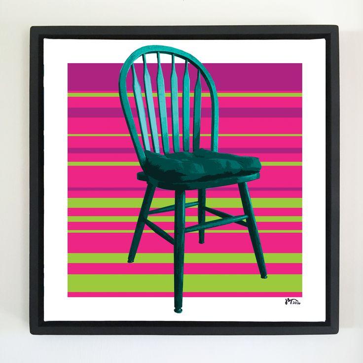 """Overflow series: """"Chair"""" art. 24 x 24 inch, digital art & gloss and matte gel on stretched canvas. 26.5 x 26.5 inch, float frame - black flat. ---------------------------------------- #popart #popartist #digitalart #art #artist #contemporaryart #colorfield #abstractart #gloss #matte #art #canvas #jonsavagegallery"""