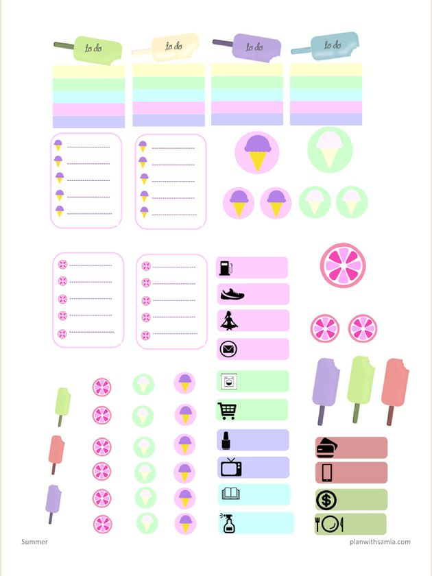 Plan with samia | Summer themed stickers II- Freebie ...