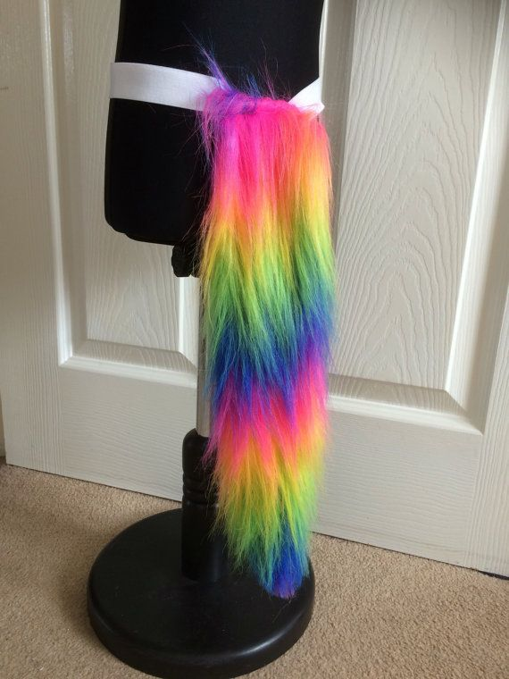 Fluffy rainbow cat or unicorn tail by LoveYouTu on Etsy