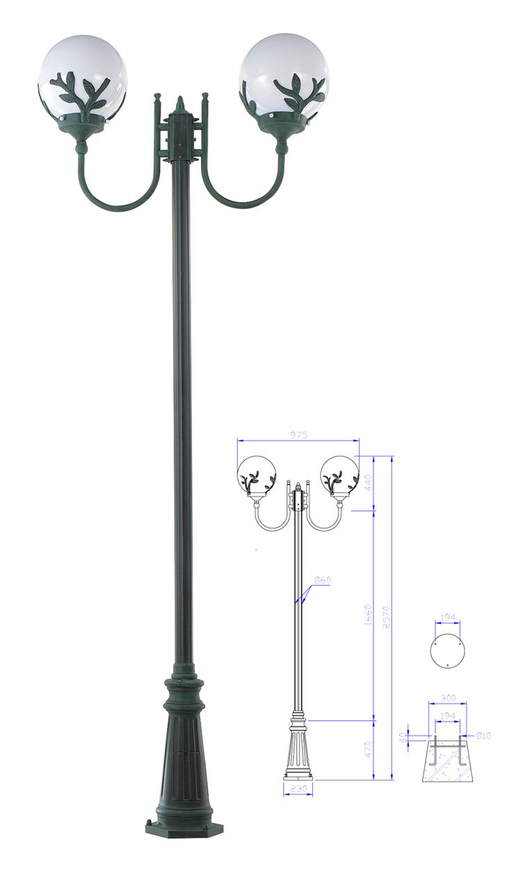 "[P0000EZX] [납품용]정원등 보급형-212-601 (12""/ Ø60/ 청동/ 넝쿨 유백/ 2.57M)"
