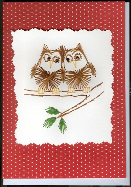 two owls stitched card - String Color La Ficelle