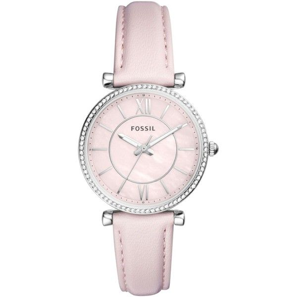 Fossil Women's Carlie Pastel Pink Leather Strap Watch 36mm ($95) ❤ liked on Polyvore featuring jewelry, watches, no color, fossil wrist watch, mother of pearl jewelry, dial watches, fossil jewelry and mother of pearl watches