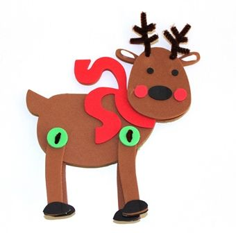DIY foam reindeer kit from Shamrock Craft includes everything you need to make this cute reindeer this holiday season.