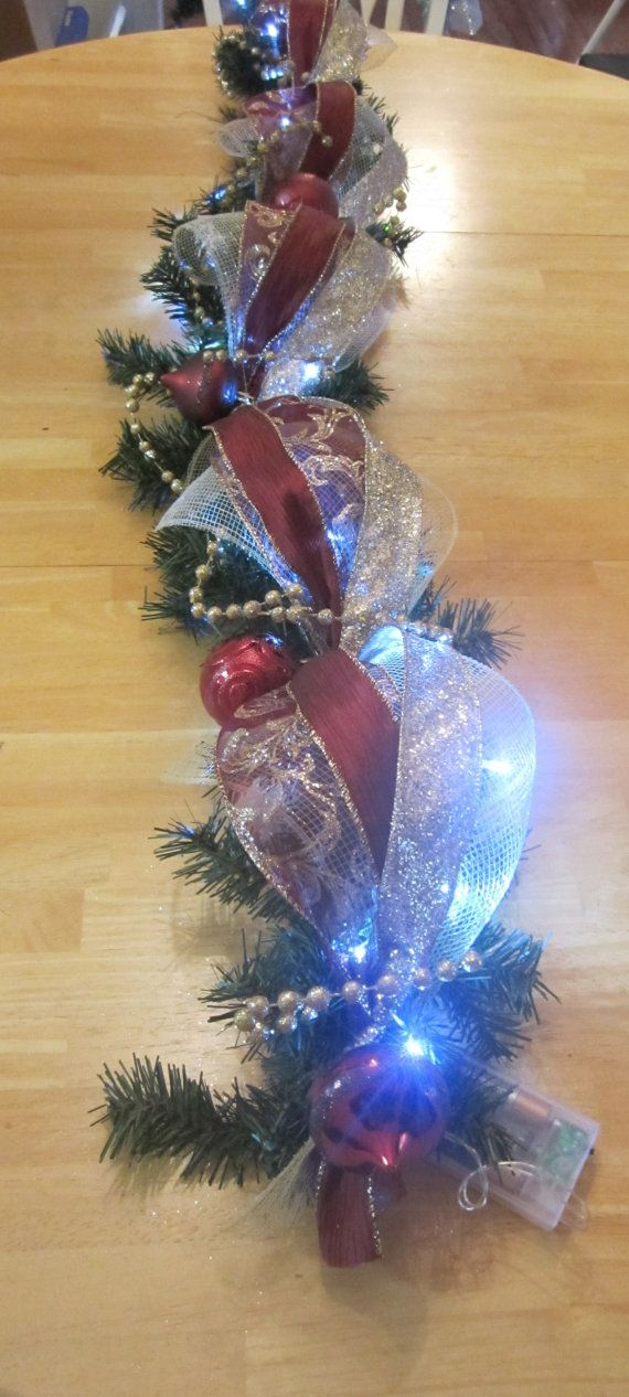 Christmas Garland Swag Lighted Table By