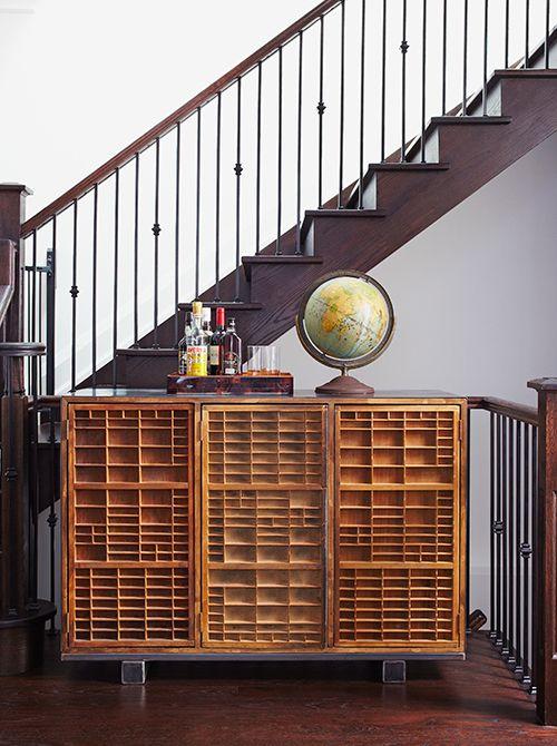 Vintage Printers Trays as Cabinet Doors
