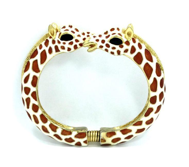Kjl jay lane gold toned giraffe orange enamel