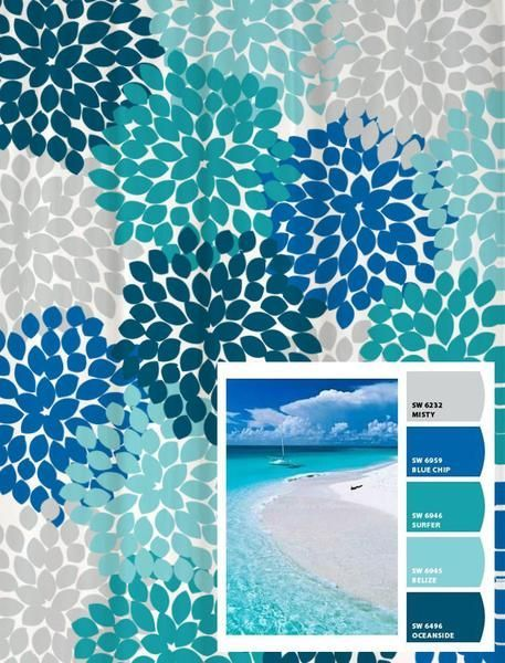 Shower Curtain in Blue and Gray Beach Inspired Floral Standard and Long Lengths 70, 74, 78, 84, 88, or 96 inches by Swirled Peas