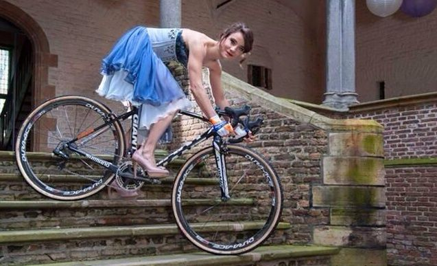 Marianne Vos... Being the world champion that she is, she would kick my butt even in the high heels (pun intended =:)