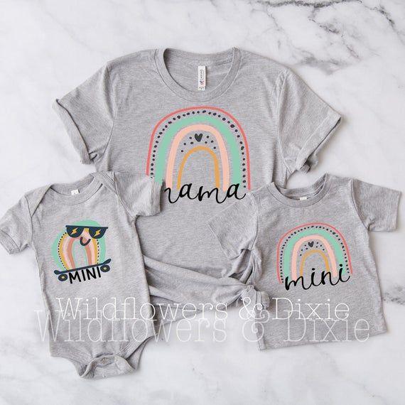 Mama Mini Matching Shirt Rainbow Mini Shirt Rainbow Mama Shirt Matching Mommy And Me Shirt Set Mama Daughter Shirts Mama Shirt