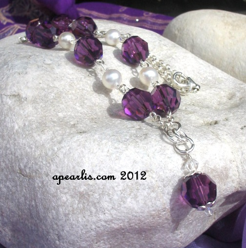 Sterling silver necklace with liliac Swarovski and fresh water pearls
