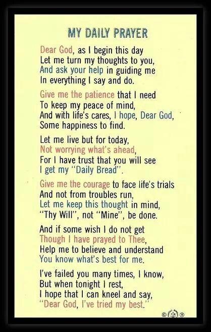My daily prayer                                                                                                                                                                                 More