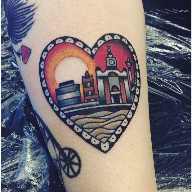 Liverpool skyline tattoo by Hannah Clark at Rain City Manchester.