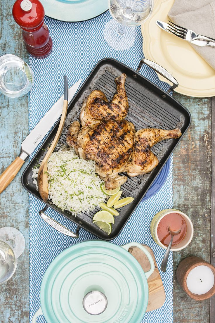 Le Creuset Vida Brazil (Recipe: Grilled Butterflied Chicken and Coriander Rice)