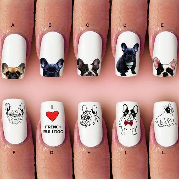 Französische Bulldogge Nagel Aufkleber Silhouette von Marziaforever