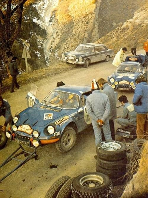 Looks like the Monte Carlo Rally circa 1969. Alpine A110
