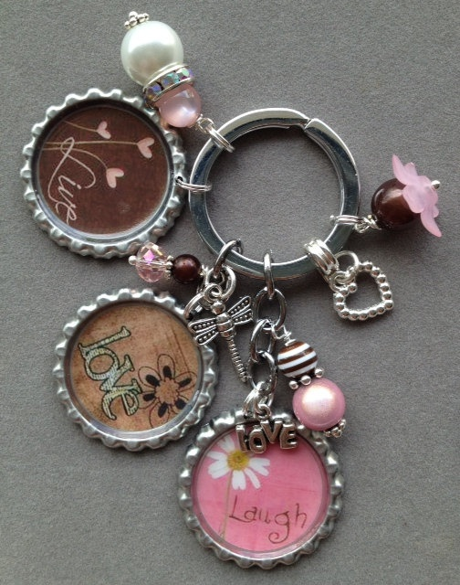 LIVE LOVE LAUGH bottle cap key chain pink and by KeyChainBling, $20.00