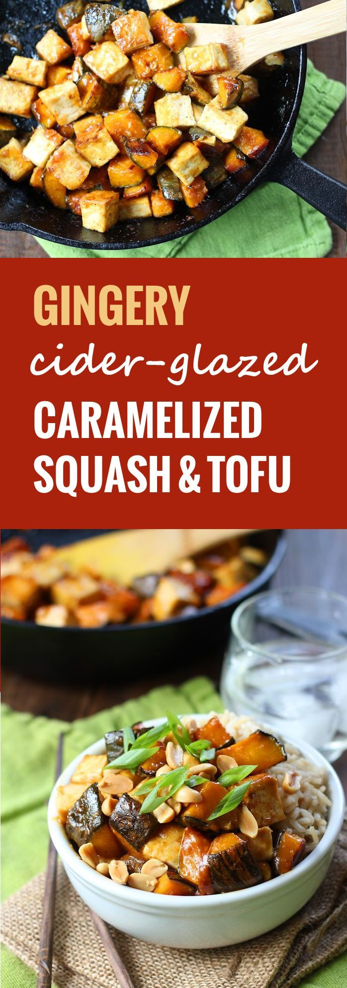 Tender chunks of caramelized winter squash are served up with crispy pan-fried tofu, drenched in a gingery Asian-inspired glaze.