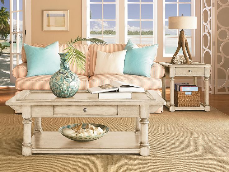 Love The Beach Bum Vibe Mix Aqua Peach And Sand To Bring Designer Living RoomsLiving Room TablesDining