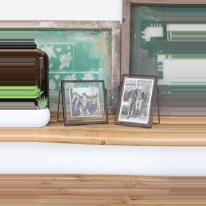Kalalou Glass Photo Frames With Metal Trim & Metal Easel - Set Of 2