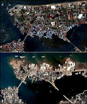 Northern shore of Banda Aceh, Sumatr, Indonesia. Top picture June 12, 2004. Bottom picture December 28, 2004, 2 days after the tsunami