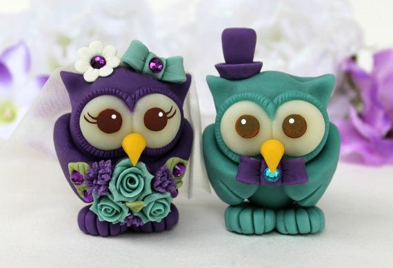 Owl wedding cake topper teal purple love birds by PerlillaPets