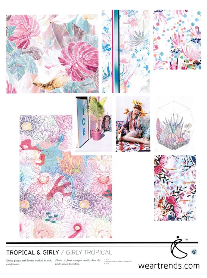 NellyRodi Print SS15. Tropical & Girly. Exotic plants and flowers worked in soft, candy tones.