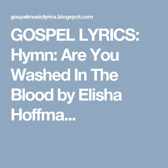 are you washed in the blood lyrics pdf