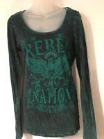 Women's Daytrip Green Rebel Nation Long Sleeve Shirt Top Size S Small Bling EUC