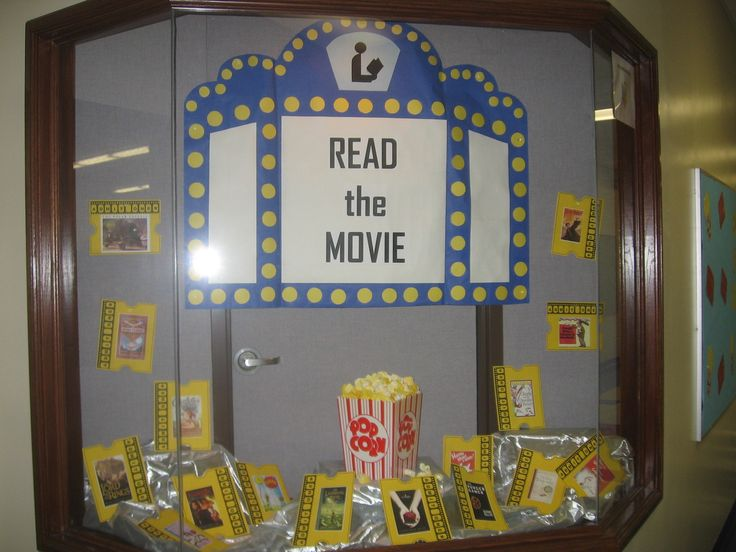 Bulletin Board idea -- LOVE THIS! Use large movie tickets from Educational Wonderland in place of the yellow tickets, do an image search to get book covers/movie posters... Themed Library and Language Arts Back To School Bulletin Board Idea