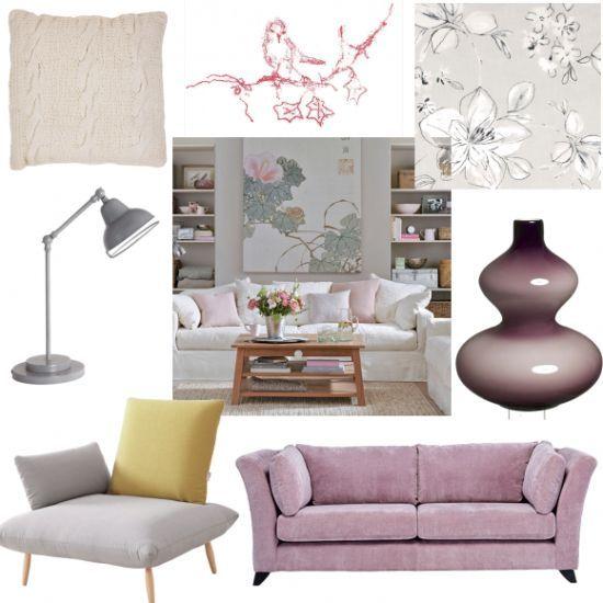 Japanese Flowers With Purple Sofa Room Ideas