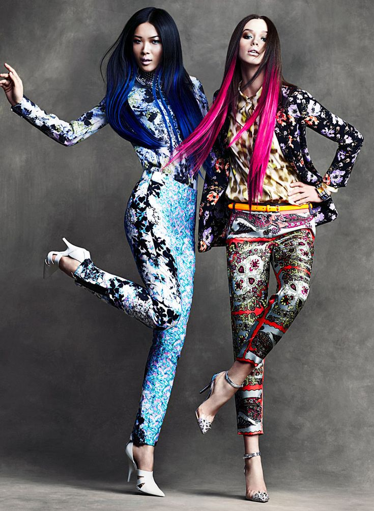 Electric Circus – Clashing prints and kaleidoscopic patterns serve as the inspiration for Chris Nicholl's latest work featured in the April edition of Flare. Models Wei and DJ don a colorful wardrobe of spring looks from labels such as Jil Sander, Alexander McQueen and Stella McCartney styled by Elizabeth Cabral. Ombre hair and flawless makeup by beauty artist Veronica Chu bring a neon edge to the flamboyant ensembles.