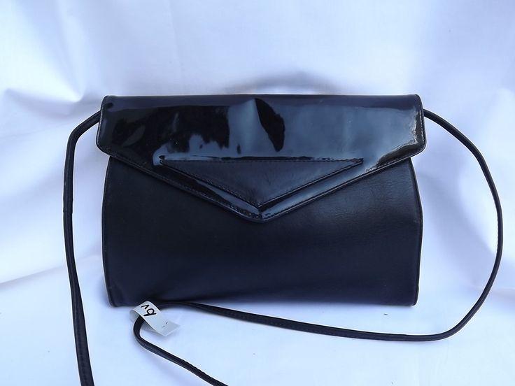 Black vintage clutch, genuine leather