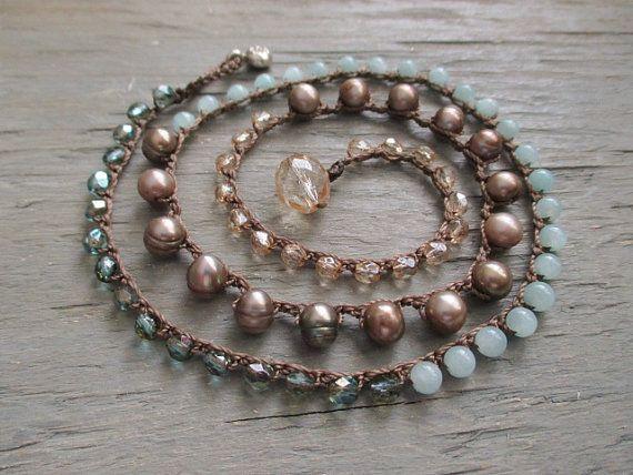Beachy crochet wrap bracelet necklace Malibu by slashKnots