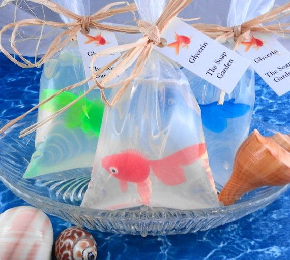 Cute as kid party favors!  with octopus?Party Favors, Kids Parties Favors, Fish Parties, Parties Favours, Glycerin Soap, Sea Parties, Bags Soaps, Birthday Parties Favors, Parties Ideas