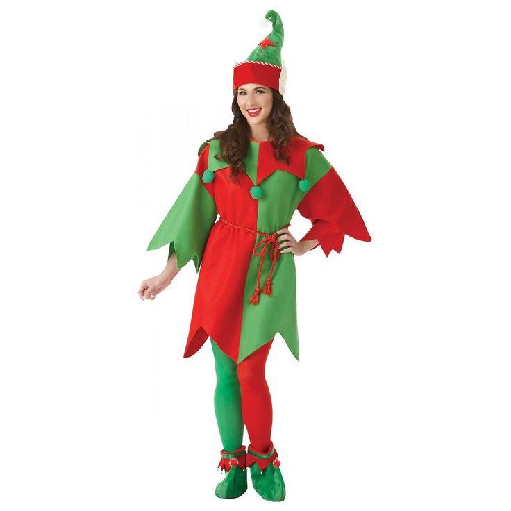 Elf Costume Adult Christmas Fancy Dress | eBay