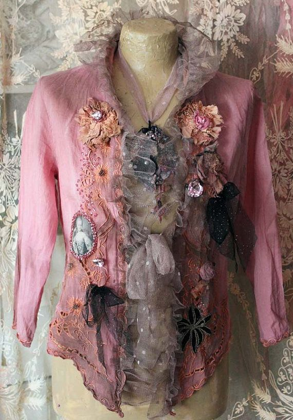 Light and feminine cotton jacket has been hand dyed and reworked with various romantic details- vintage bead applique, handmade embroidered flowers,