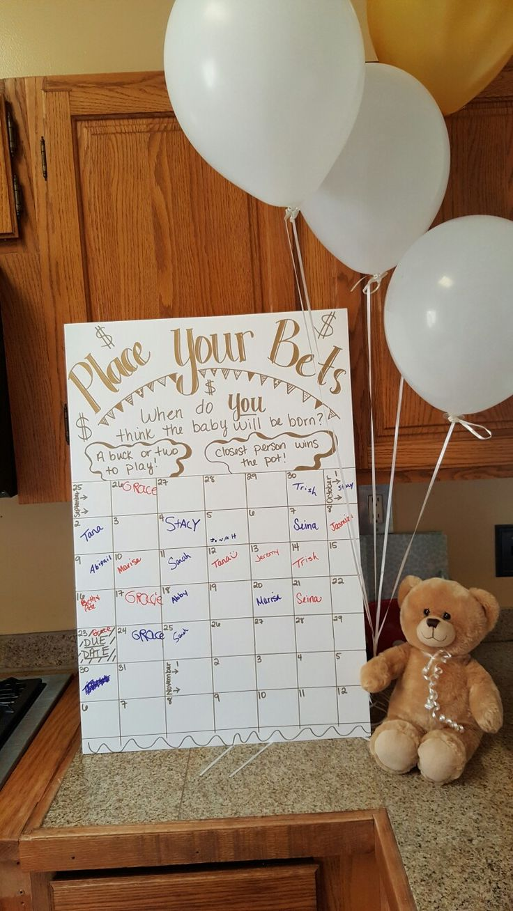 Baby shower birth day betting! All guests bring a few dollars and place in a jar, then write their name in the date they think the baby will be born! Whoever guesses the correct day gets all the cash!