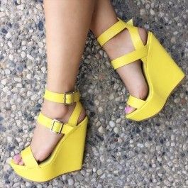 Yellow Ankle Strap Platform Wedges Faux Leather $22.79