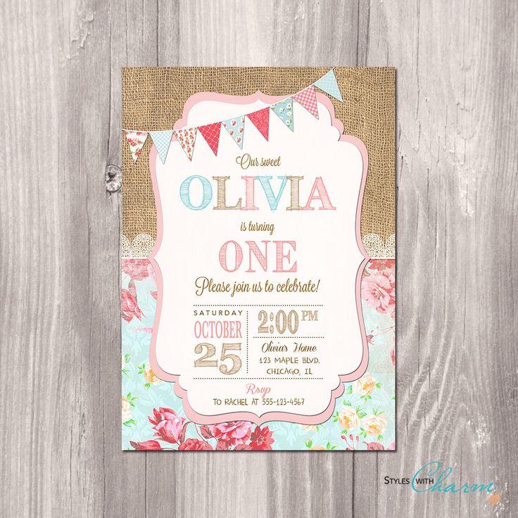Shabby Chic Birthday Invitation - Girl First Birthday Invitation - Burlap Birthday Invitation - 1st Birthday Invitation - Printable Invite by StyleswithCharm on Etsy https://www.etsy.com/listing/208538626/shabby-chic-birthday-invitation-girl