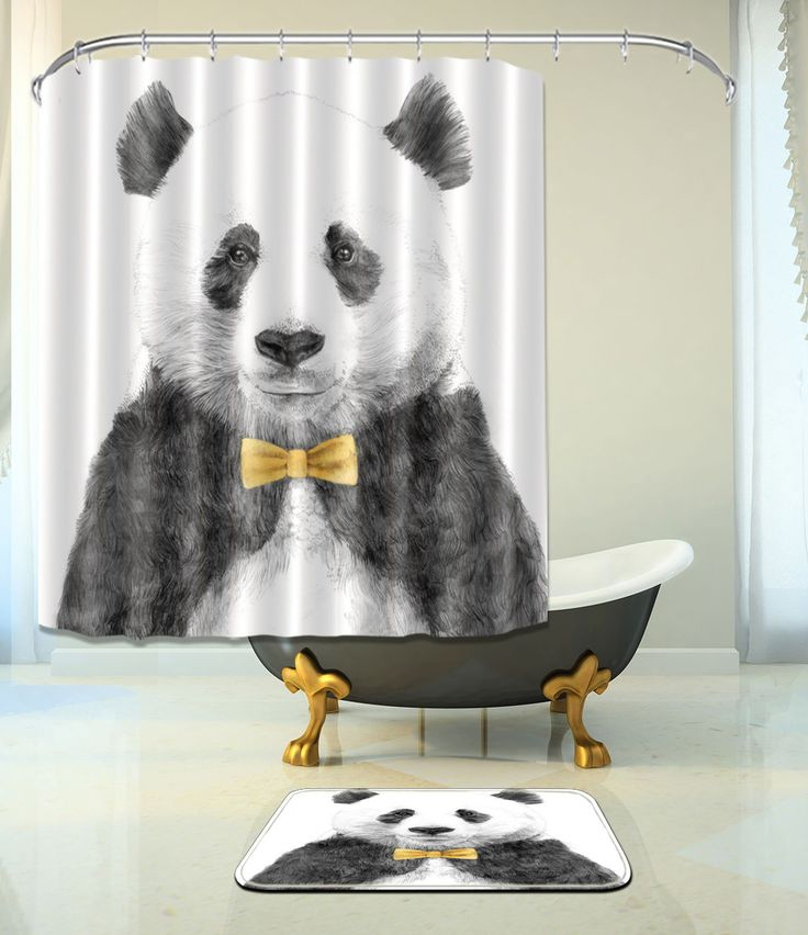 "Panda Bathroom Mat Waterproof Polyester Fabric Shower Curtain +12 Hooks 72"" 401"