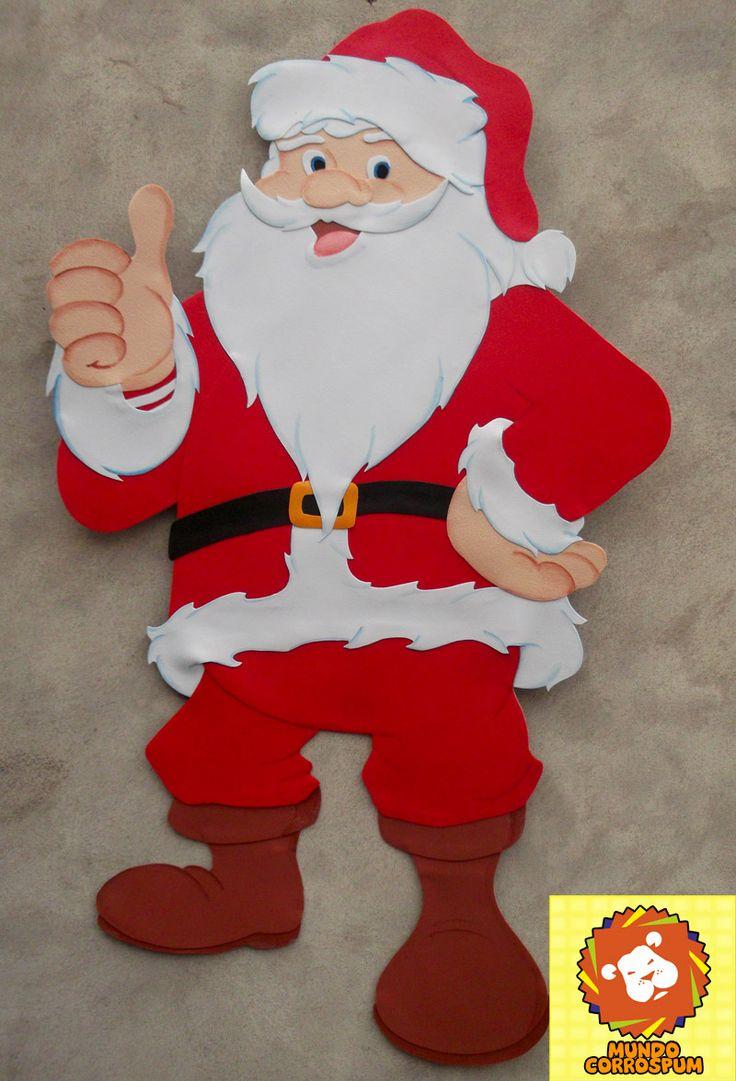 Papa noel en microporoso para colgar hecho con una base - Manualidades para hacer en navidad ...