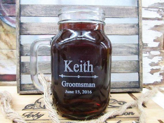Personalized Wedding Mason Jar With Handle Groomsmen Gift Ideas Rustic Barn