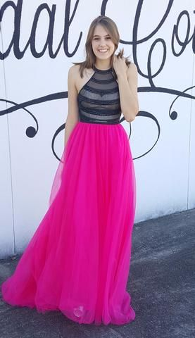 Black and Hot Pink Prom Gown by designer Lucci Lu