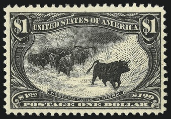 Western Cattle in Storm - USA Stamp - rarest stamps in the world. driwancybermuseum.wordpress.com