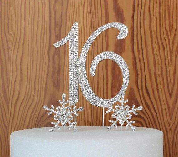 Large Rhinestone Silver Crystal Sweet Sixteen 16 Birthday Number Cake Topper